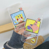 Clear Spongebob  Cartoon Phone Case Cover For iPhone7 8Plus XR XsMax 11Pro