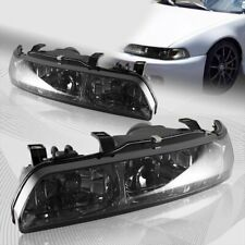 For 1990-1993 Acura Integra JDM Smoke Lens 1-Piece Headlights W/Amber Reflector