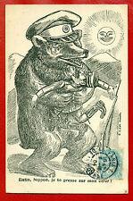 Russia Russland Japan Propaganda Vintage Postcard Bear Used 2