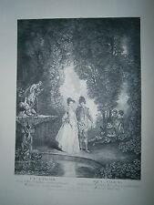 Planche gravure La cascade d'aprés le tableau de Watteau