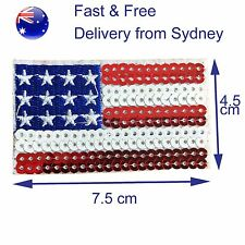 Sequin US flag iron on patch -  spangled United States USA symbol flags patches
