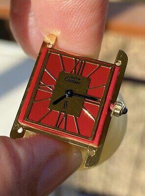 Cartier Vintage Watch Lady Must De Vermeil Tank Solo Red Very Rare + Buckle