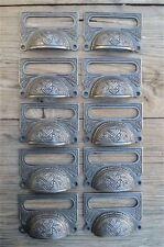 A SET OF 10 LARGE EDWARDIAN CAST IRON LABEL FRAME HANDLE FILING DRAWER PULL CB10