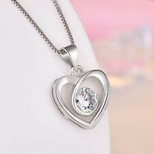 Halskette Herz Anhänger mit SWAROVSKI® Kristall Collier Silber 18K Weißvergoldet
