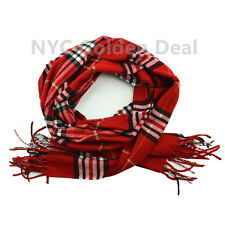 Men's 100% CASHMERE Scarf RED Checked Plaid Design Soft  MADE IN SCOTLAND