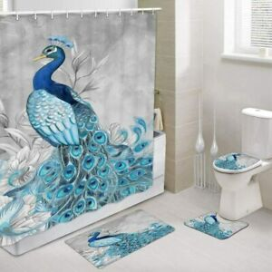 Peacock Shower Curtains Rug Set, Peacock Floral Bath Toilet Lid Cover 4 Pcs Set