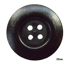 5 Large Black Wooden Round Buttons 35mm, Jumper, Craft, Sewing - BU1256