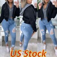 US Women's Casual Hooded Coat Lightweight Jacket Hoodie Long Sleeve Outwears