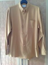 WOODS & GREY MENS YELLOW/BROWN SHIRT MEDIUM EXCELLENT CONDITION 100% POLYESTER