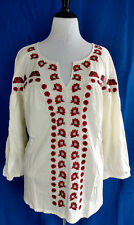 Roamans Top Blouse Womens Sz 30 32 Cream White Red Embroidered Soft Jersey Knit