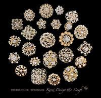 24 pc Assorted Alloy Gold Rhinestone Crystal Brooches Wedding Bouquet Cake DIY