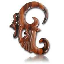 LONG CARVED PAIR 2G (6MM) SPIRALS SONO WOOD TALONS PLUGS EAR PLUG HANGER GAUGE