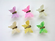 12 Glitter Feather Butterflies approx 4cm 6 assorted colours