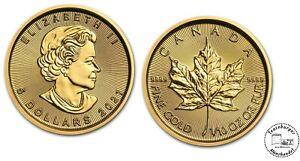 Kanada 5 $ 2021 Maple Leaf Anlagemünze  * 1/10 Oz 999,9 Gold * ST in OVP Folie