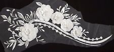 Large 3D Bridal Ivory White Sequined Floral Embroidery Applique Motif LaceEB0283