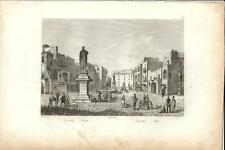 Stampa antica POZZUOLI veduta della piazza Napoli 1834 Old print Engraving