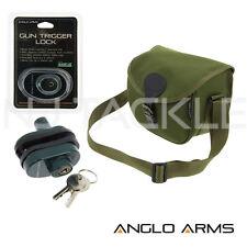 NEW GREEN ANGLO ARMS CARTRIDGE BAG HOLDER / SHOTGUN CLAY HUNTING & TRIGGER LOCK