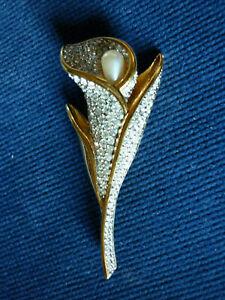 Brosche Swarovski Tulpe m. Perle schönes Stück sehr gut erhalten