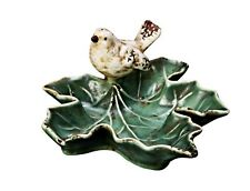 "Creative Co-Op Green Ceramic Leaf Dish w/Bird 5 1/2"" Jewelry Trinket Holder"