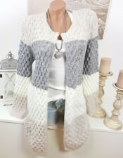 Italy Winter Cardigan Strickjacke Jacke Vintage Blockstreifen Beige-Grau 36-40