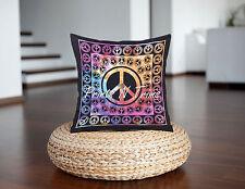 Peace Sign Cushion Cover Handmade Bohemian Decorative Pillow Case Indian Textile