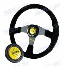 Universal 350mm Racing Steering Wheel w/ Suede Leather Arrow Horn For momo hub