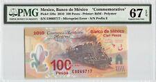 """Mexico 2010 P-128e PMG Superb Gem UNC 67 EPQ 100 Pesos """"Commemorative"""""""