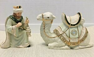 2003 Hawthorne Village Irish Nativity King Melchoir And His Loyal Camel