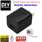 Motion Activated 1080p HD USB Charger 32GB Hidden Spy Camera A/C Adapter
