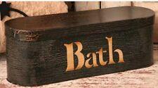 Primitive Country Folk Art Black Crackle BATH Toilet Paper Holder Storage Box