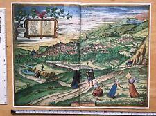 Mapa de color de Granada, España: 1563 Braun & Hogenberg reimpresión 1500's Tudor