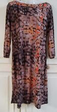 Beige by eci Size 12 Ladies Womens Brown Orange Black Mix ¾ Sleeve Dress