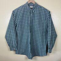 Eddie Bauer Button Up Shirt Mens 2XL Tall Green Plaid Long Sleeve Collared