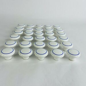 "Lot 30 Vintage White Porcelain 1.5"" Knobs Cabinet Drawer Pulls Blue Circle Trim"