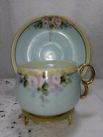 Vintage Antique Hand Painted Pink Roses Tea Cup & saucer Gold Handle.