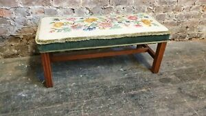 Long Wide Bench Stool Teak and Still Life Tapestry