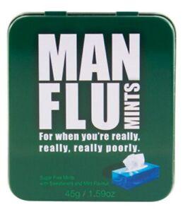 Man Flu Novelty Sugar Free Mints Tin Sweets Gift Box Stocking Filler 45g