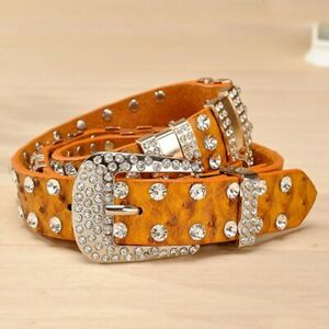 Rhinestone Belts For Women Luxury Designer PU Leather Belt Cow Second Layer Skin