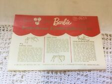 Vintage 1962 Barbie Doll Craft Kit Embroidery Instructions