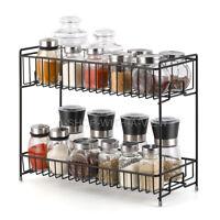 Durable 2-Tier Standing Kitchen Spice Rack Storage Organizer Shelf Holder