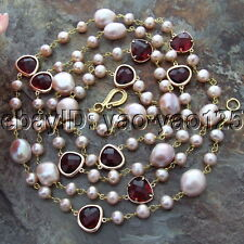 H160107 52''  Pink Freshwater Pearl Red Crystal Necklace