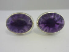 Stunning Cabochon Amethyst & Sterling Silver Screwback Cufflinks - New & Cased