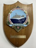 Vintage US Navy Cruisers Destroyers Pacific Brass Wood Plaque Rear Admiral Named
