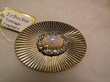 Vintage Oval Gold Tone Brooch, Opal and Rhinestones
