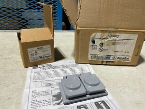 One (1) Appleton FSKWRD Aluminum Wet Location Duplex Receptacle Cover, NOS