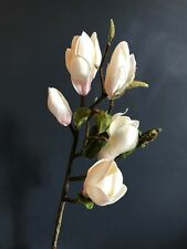 Realistic White Artificial Magnolia Branch. Stem of Faux Silk Flowers