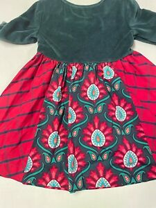 MATILDA JANE GREEN VELOUR BODICE HOLIDAY DRESS GIRLS   SZ   4