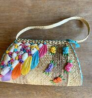 Mexican Raffia Straw Women's Floral Shells Handbag Summer Vacation Purse