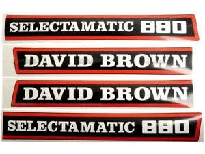BONNET DECAL SET FOR DAVID BROWN 880 SELECTAMATIC TRACTORS. HIGH QUALITY