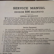 Original Edison Splitdorf RM Magneto Service Manual